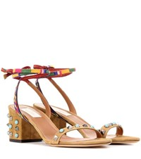 Valentino Garavani Embellished Leather Sandals Brown