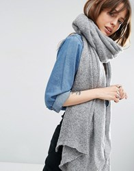 Asos Oversized Knit Scarf Grey Green