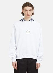 Sunnei Hooded Striped Embroidered Sweater White