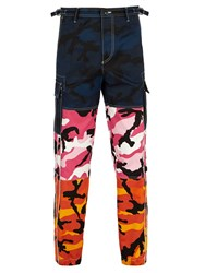 Valentino Camouflage Print Panelled Trousers Multi