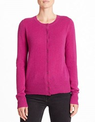 Lord And Taylor Crewneck Cashmere Cardigan Cosmos Purple