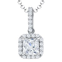 Jools By Jenny Brown Sterling Silver Cubic Zirconia Square Surround Pendant Rhodium