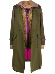 Bazar Deluxe Layered Trench Coat Green