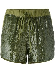 P.A.R.O.S.H. Sequin Embellished Shorts Women Viscose Pvc M Green