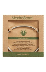 Mantraband Women's Love Yourself Engraved Cuff Silver