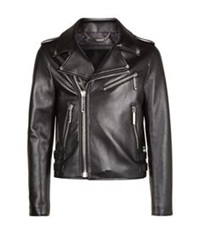 Philipp Plein Leather Biker Jacket Black
