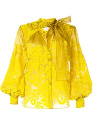 Rosie Assoulin Floral Embroidered Blouse Yellow