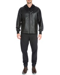 Givenchy Perforated Leather Zip Up Jacket Black