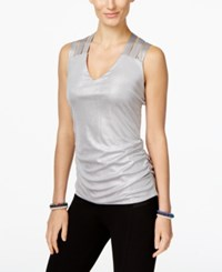 Inc International Concepts Metallic Lattice Back Tank Top Only At Macy's Silver
