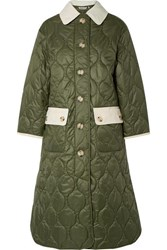 Barbour Alexachung Annie Corduroy Trimmed Quilted Shell Coat Army Green