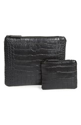 Alexander Wang Croc Embossed Zip Pouch And Coin Purse