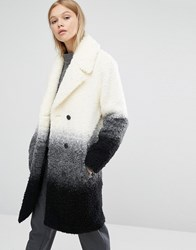 Native Youth Boucle Textured Gradient Overcoat Ecru Multi