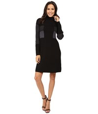 Adrianna Papell Turtleneck Long Sleeve Color Block Pleat Dress Black Multi Women's Dress