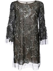 Marchesa Beaded And Embellished Cocktail Dress Silk Nylon Sequin Glass Black
