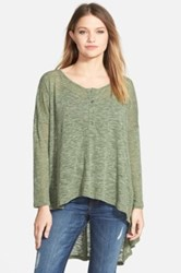 Lily White High Low Henley Juniors Green