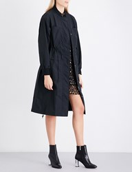 Moandco. Text Print Shell Trench Coat Black