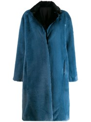 Heron Preston Concealed Front Coat Blue
