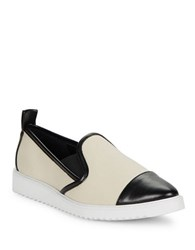 Karl Lagerfeld Leather Trimmed Canvas Loafers Off White
