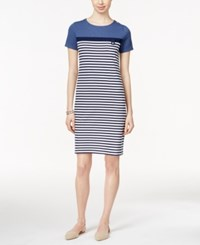 Karen Scott Petite Short Sleeve Striped Dress Only At Macy's Heather Indigo