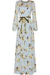 Mikael Aghal Pleated Foral Print Georgette Gown Light Blue