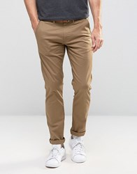 Selected Homme Slim Fit Chino With Stretch And Leather Belt Dark Camel Beige
