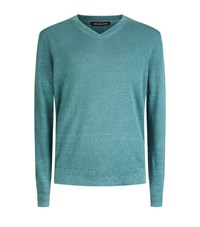 Michael Kors Melange V Neck Jumper Male Green