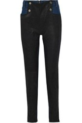 Each X Other Button Detailed Leather Paneled High Rise Skinny Jeans Mid Denim