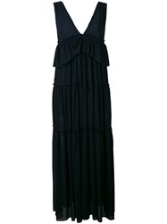 See By Chloe Plunge Tiered Dress Women Cotton Polyester S Blue
