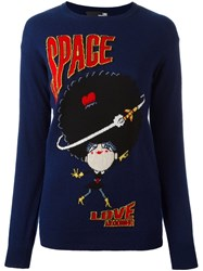 Love Moschino Space Intarsia Jumper Blue