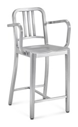 Emeco Navy Counter Stool With Arms Gray