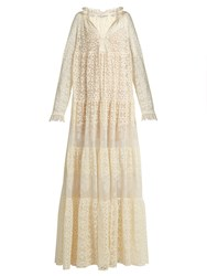 Stella Mccartney Deep V Neck Lace Maxi Dress Ivory