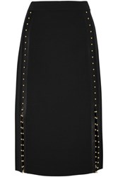 Altuzarra Welkes Embellished Silk Satin Trimmed Crepe Skirt Black