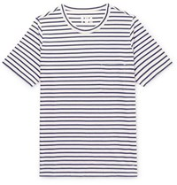 The Workers Club Striped Cotton Jersey T Shirt Navy