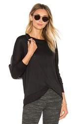 David Lerner Ribbed Elbows Pullover Black