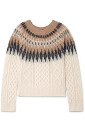 Altuzarra Parvati Fair Isle And Cable Knit Wool Blend Sweater Ivory