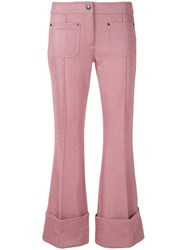 Marco De Vincenzo Flared Tailored Trousers Pink And Purple