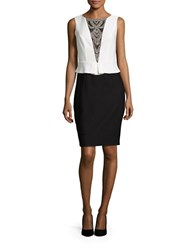 Jax Sleeveless Peplum Dress Ivory Black
