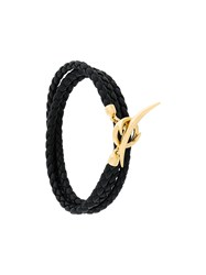 Shaun Leane Quill Wrap Bracelet Leather Gold Plated Sterling Silver Metallic