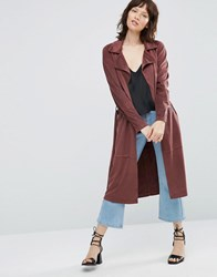 Only Jennifer Faux Suede Trench Coat Masala Red
