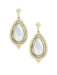 Freida Rothman Cubic Zirconia Mother Of Pearl And 14K Gold Plated Sterling Silver Earrings