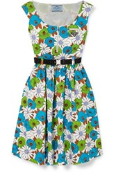 Prada Belted Floral Print Cotton Poplin Dress Blue