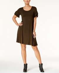 Style And Co Ruffle Sleeve Dress Created For Macy's Evening Olive