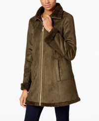 Jones New York Faux Shearling A Line Walker Coat Olive