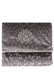 Roberto Cavalli Monogram Cotton Velvet Throw Grey