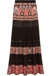 Roberto Cavalli Jacquard And Pointelle Knit Maxi Skirt Black