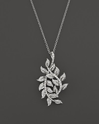 Bloomingdale's Diamond Leaf Pendant Necklace In 14K White Gold .55 Ct. T.W.