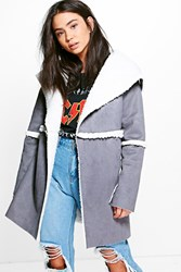 Boohoo Sherpa Lined Bonded Coat Charcoal