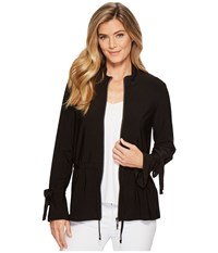 Tribal Pack And Go Travel Jersey Zip Front Jacket With Drawstring Black Women's Coat