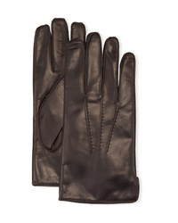 Portolano Deerskin Leather Classic Gloves With Side Slit Chocolate