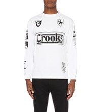 Crooks And Castles Brand Logo Printed Cotton Jersey Top White